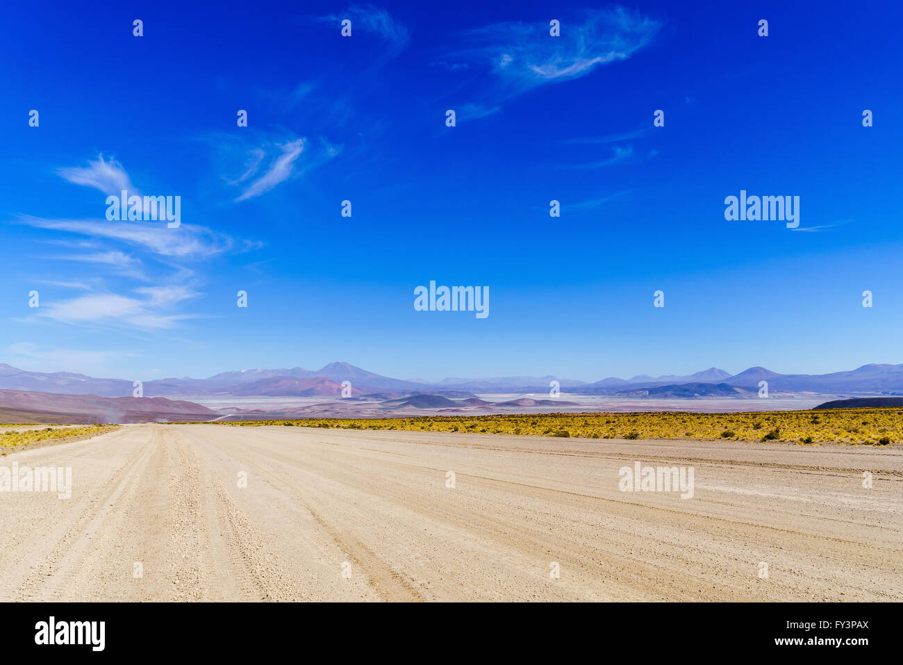 Panoramic view of The World Largest Salt Flats at Uyuni in Bolivia - Stock Image