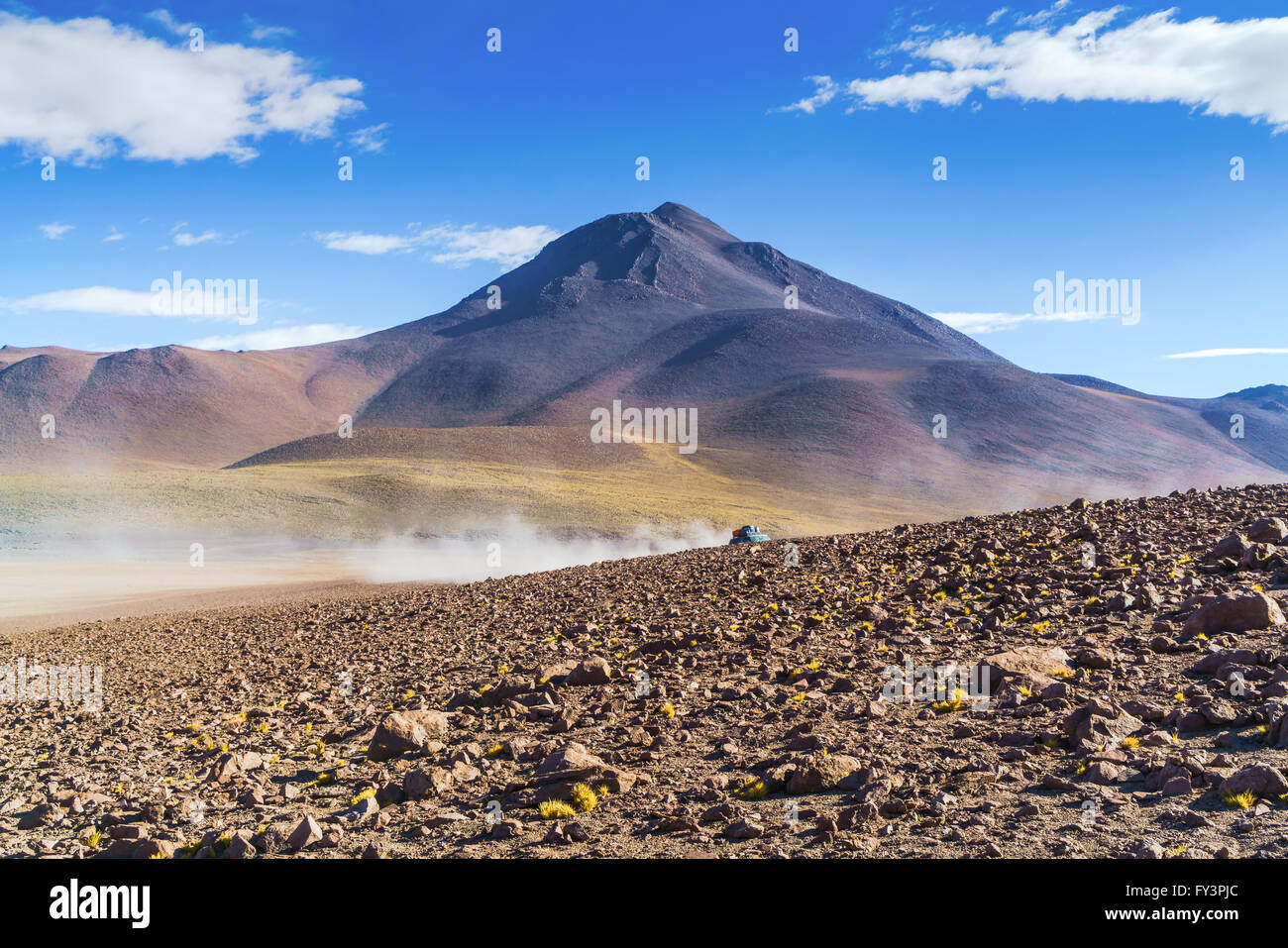 View of high mountain in The National Park, Uyuni, Bolivia - Stock Image