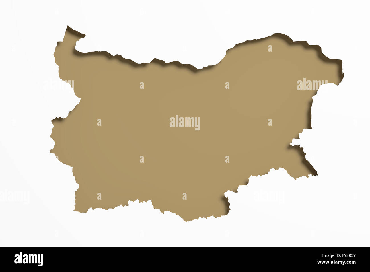 3d rendering of a Bulgaria map on white background. Stock Photo
