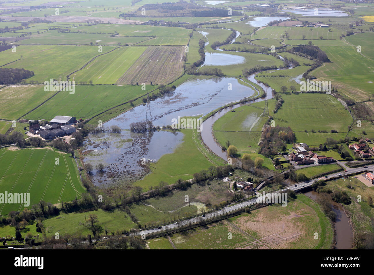 aerial view of flooding on the River Derwent in Yorkshire, UK - Stock Image