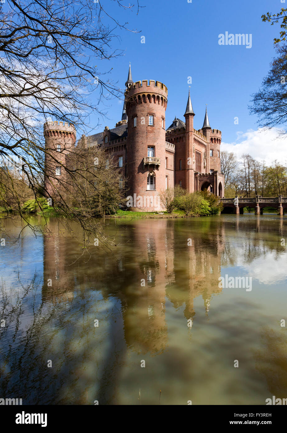 Castle Moyland at Bedburg-Hau near Kleve in the Lower Rhine region, view from South-West - Stock Image