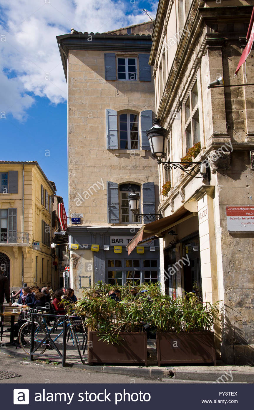 Arles, Ambiance in Place du Forum, Provence, Bouches du Rhône, France Stock Photo