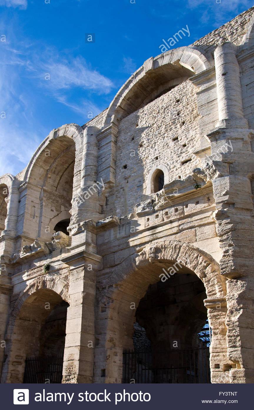 Arènes, Arcades detail, Arles Amphitheatre, Bouches du Rhône, Provence, France - Stock Image