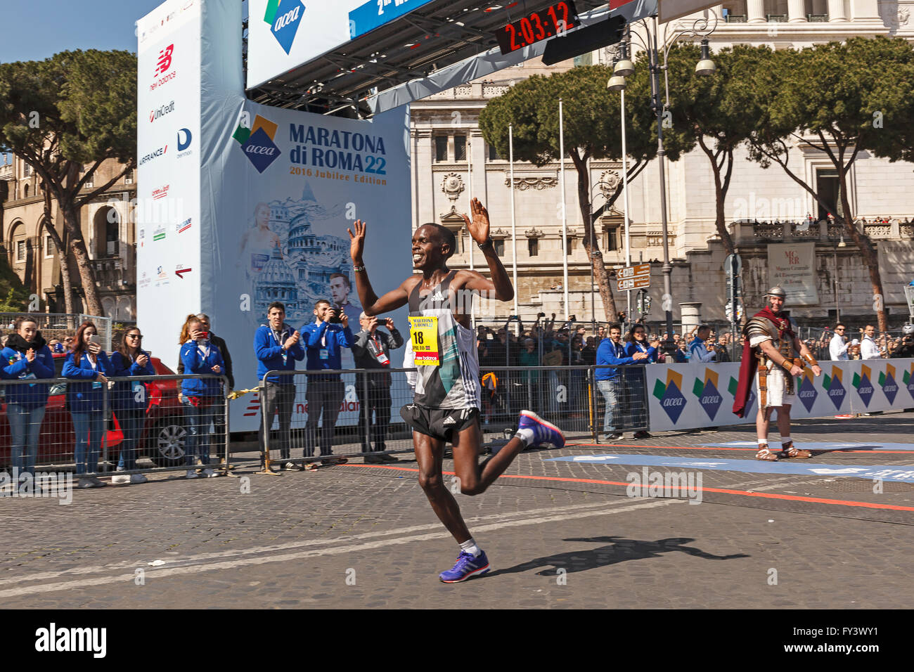 Rome, Italy - April 10, 2016: Amos Kipruto crosses the finish line in first place and won the men's race of - Stock Image