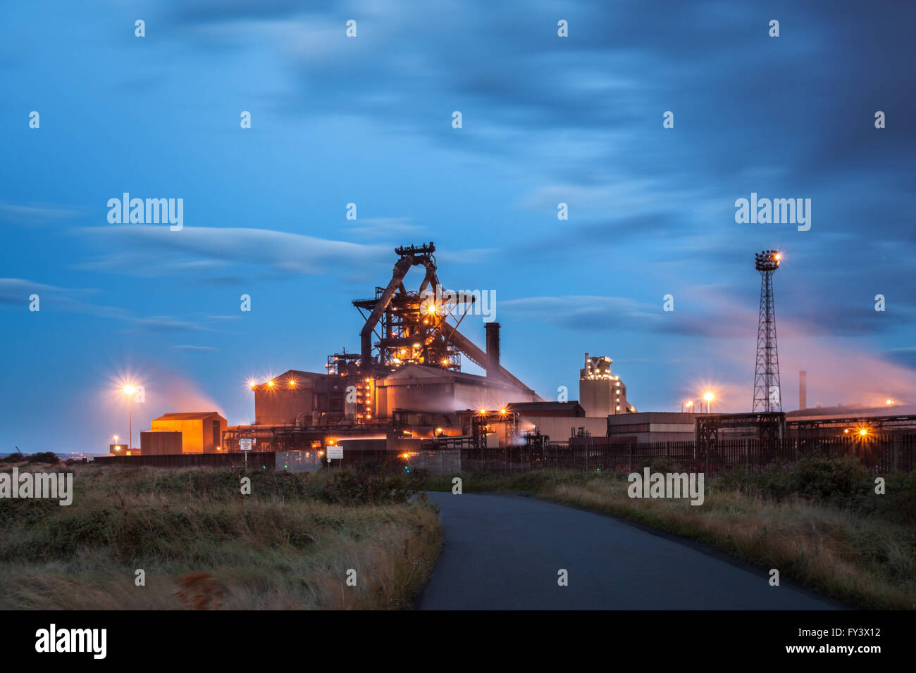 SSI Blast furnace, South Gare, Dusk, Teesside, England - Stock Image