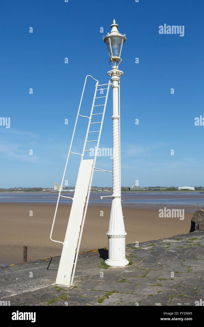 Old lamppost on the old harbour at Lydney, Gloucestershire, UK, - Stock Image