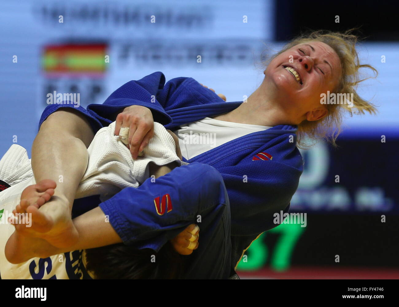 Kazan, Russia. 21st Apr, 2016. Russian judoka Nataliya Kondratyeva competes in the women's -48kg event at the - Stock Image