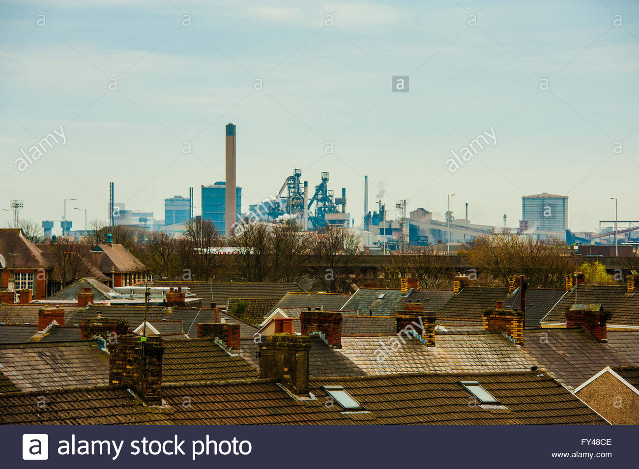 Port Talbot, Wales, UK 21st April 2016. A grey day over the town of Port Talbot looking at the Tata Steel Works Stock Photo