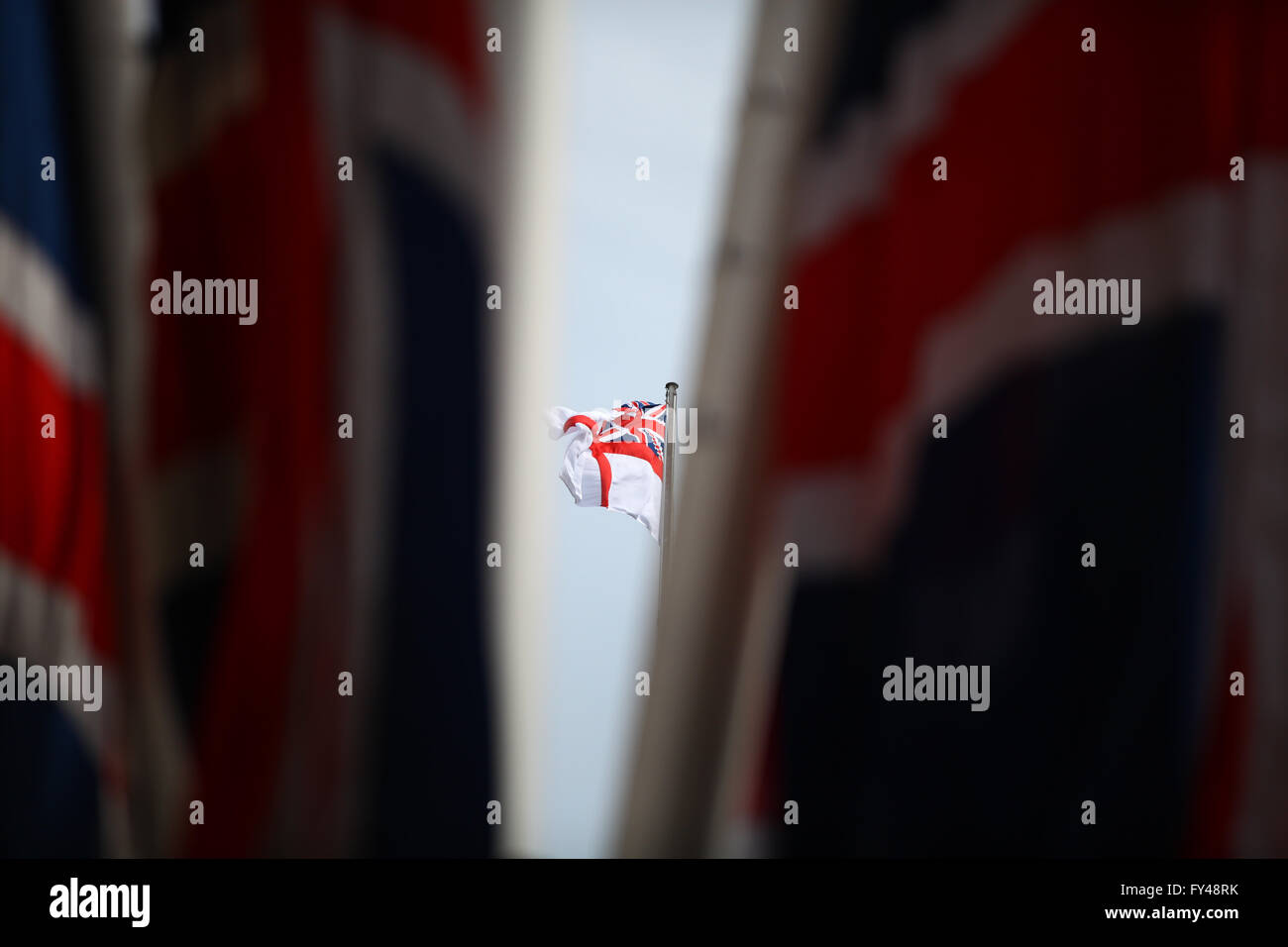The Mall, London, 21 April 2016 - Flags in the Mall to celebrate the Queen's 90th Birthday Credit:  Dinendra - Stock Image