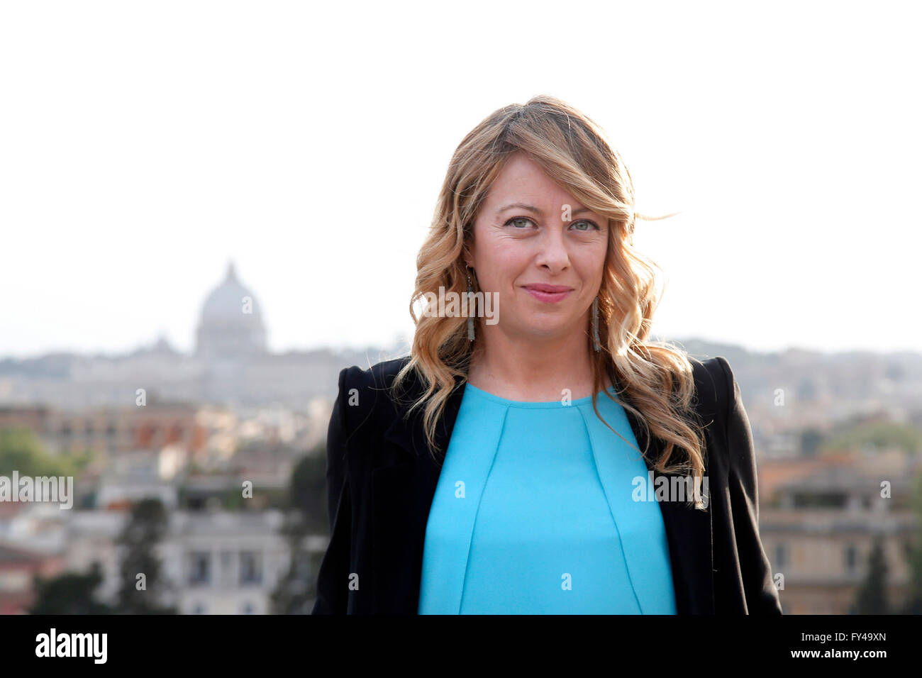 Candidate Mayor of Rome Giorgia Melon and in the background the view of Rome Rome 21st April 2016. Terrace of the - Stock Image