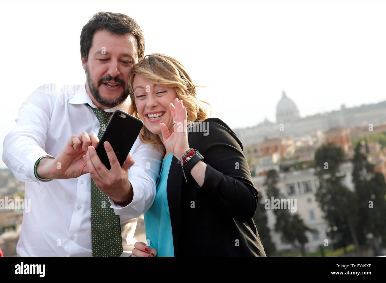 Matteo Salvini and Giorgia Meloni  Rome 21st April 2016. Terrace of the Pincio Gardens. Opening of the election - Stock Image