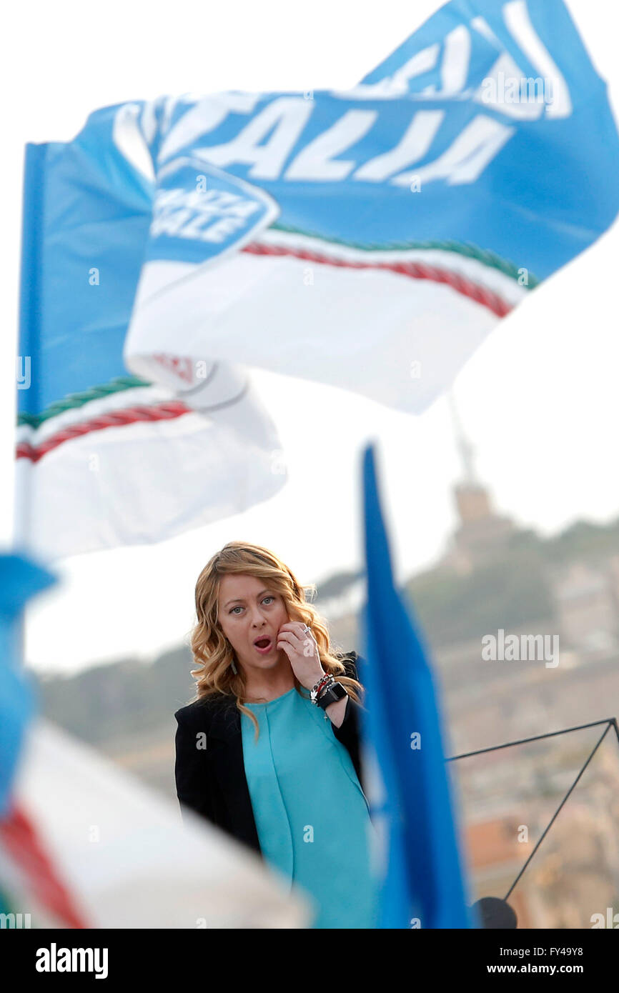 Giorgia Meloni Rome 21st April 2016. Terrace of the Pincio Gardens. Opening of the election campaign for the candidate - Stock Image