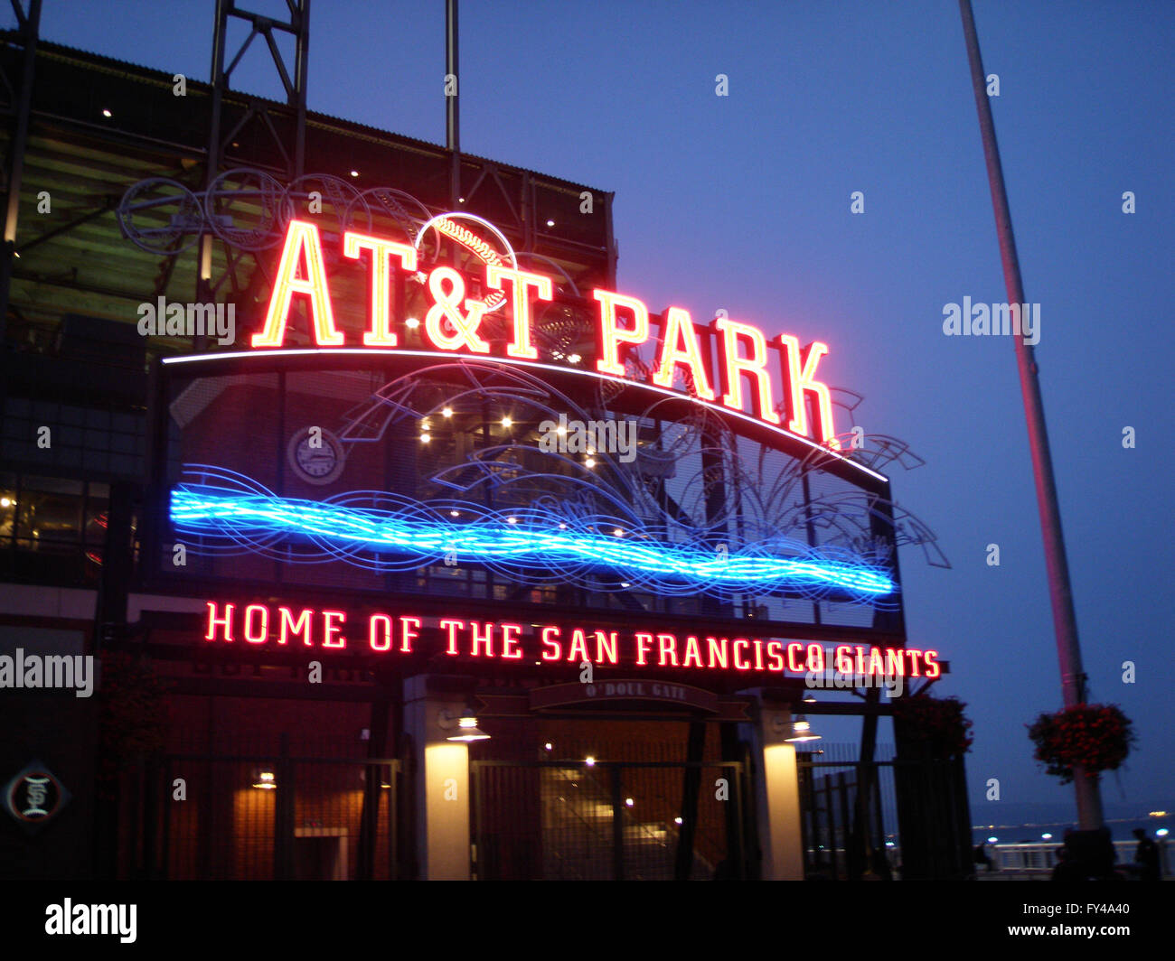 SAN FRANCISCO - APRIL 28: AT&T Park - Home of the Giants - Neon Sign at night with visual of water taken on - Stock Image