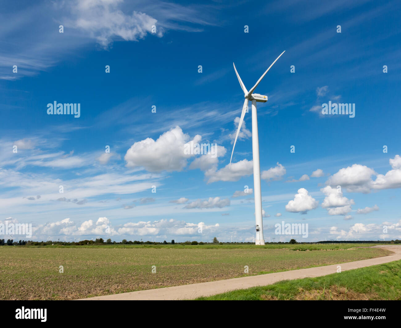Wind power turbine in Flevoland polder in the Netherlands - Stock Image