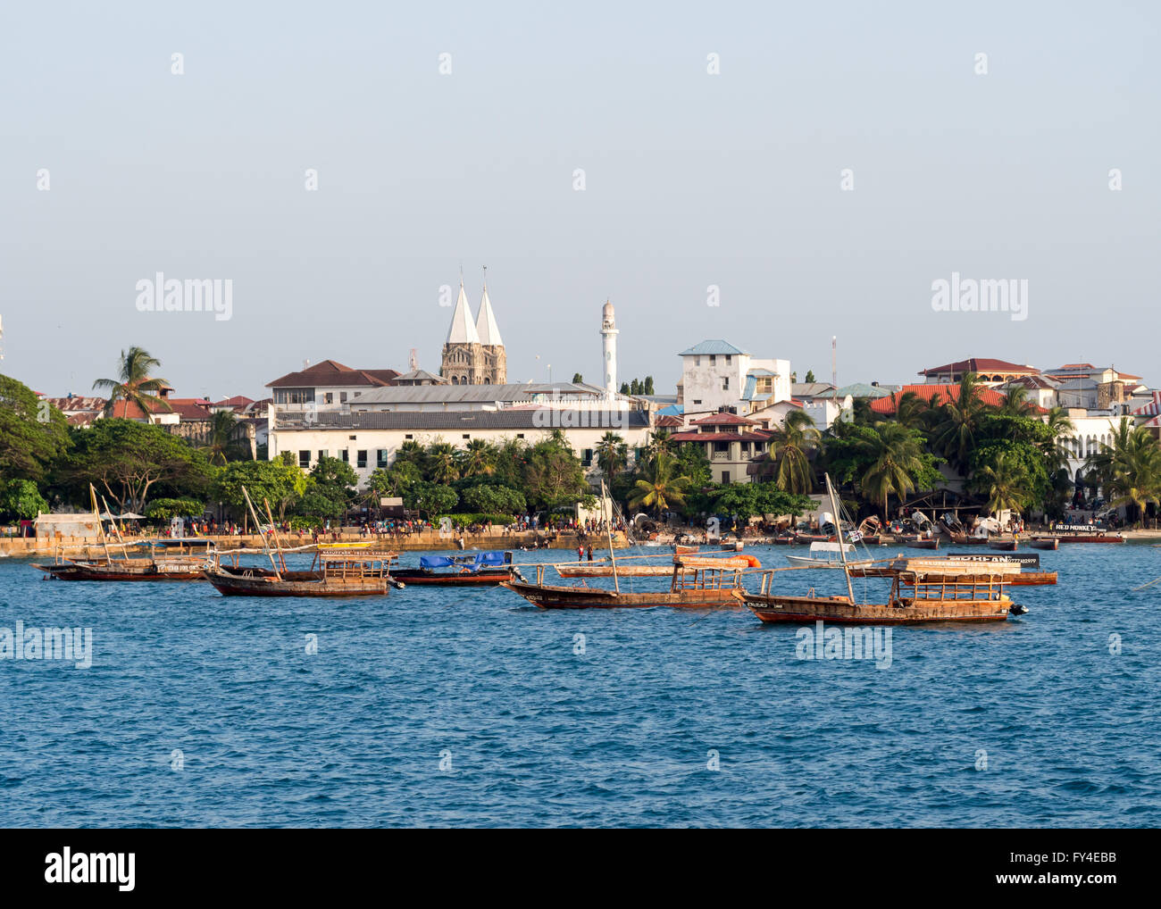 Stone Town on Zanzibar seen from the ferry from Dar es Salaam. - Stock Image
