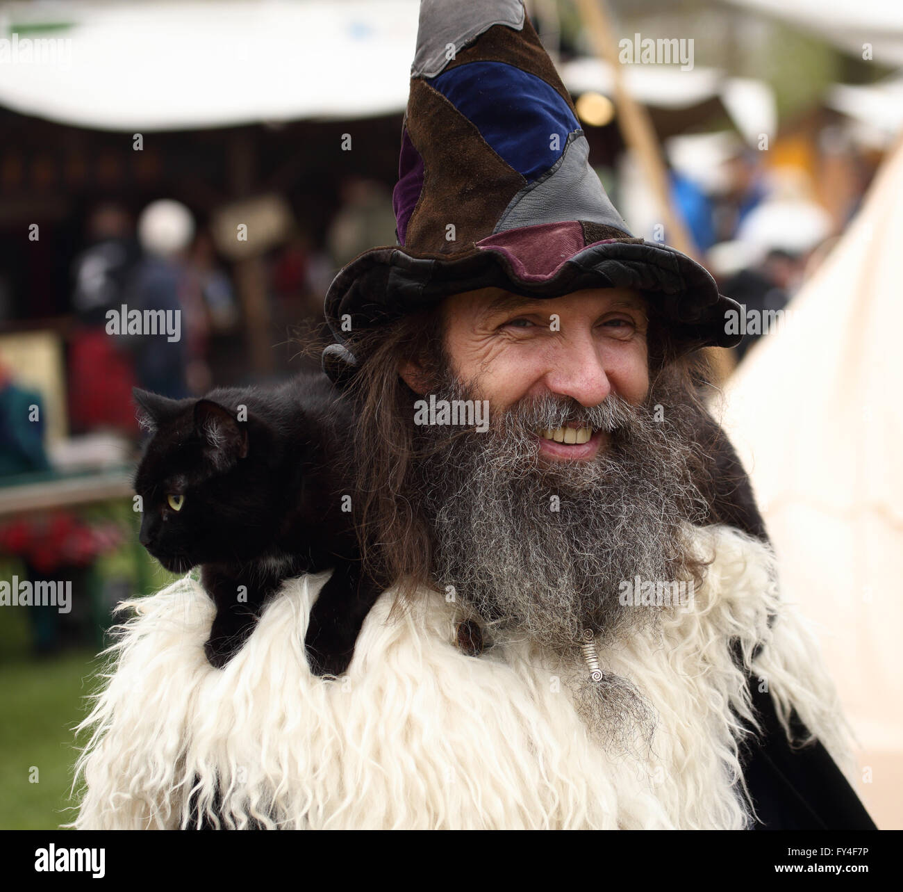 Bearded man dressed as wizard with a large pointed hat and a black cat over his shoulder. - Stock Image