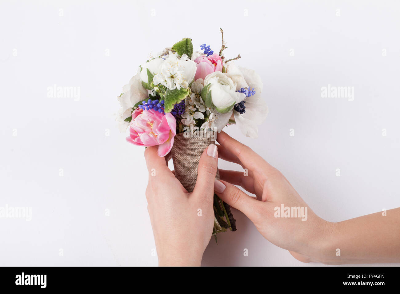Two hands are making a beautiful spring bouquet from pink tulips, violet grape hyacinths, white anemones, violet - Stock Image