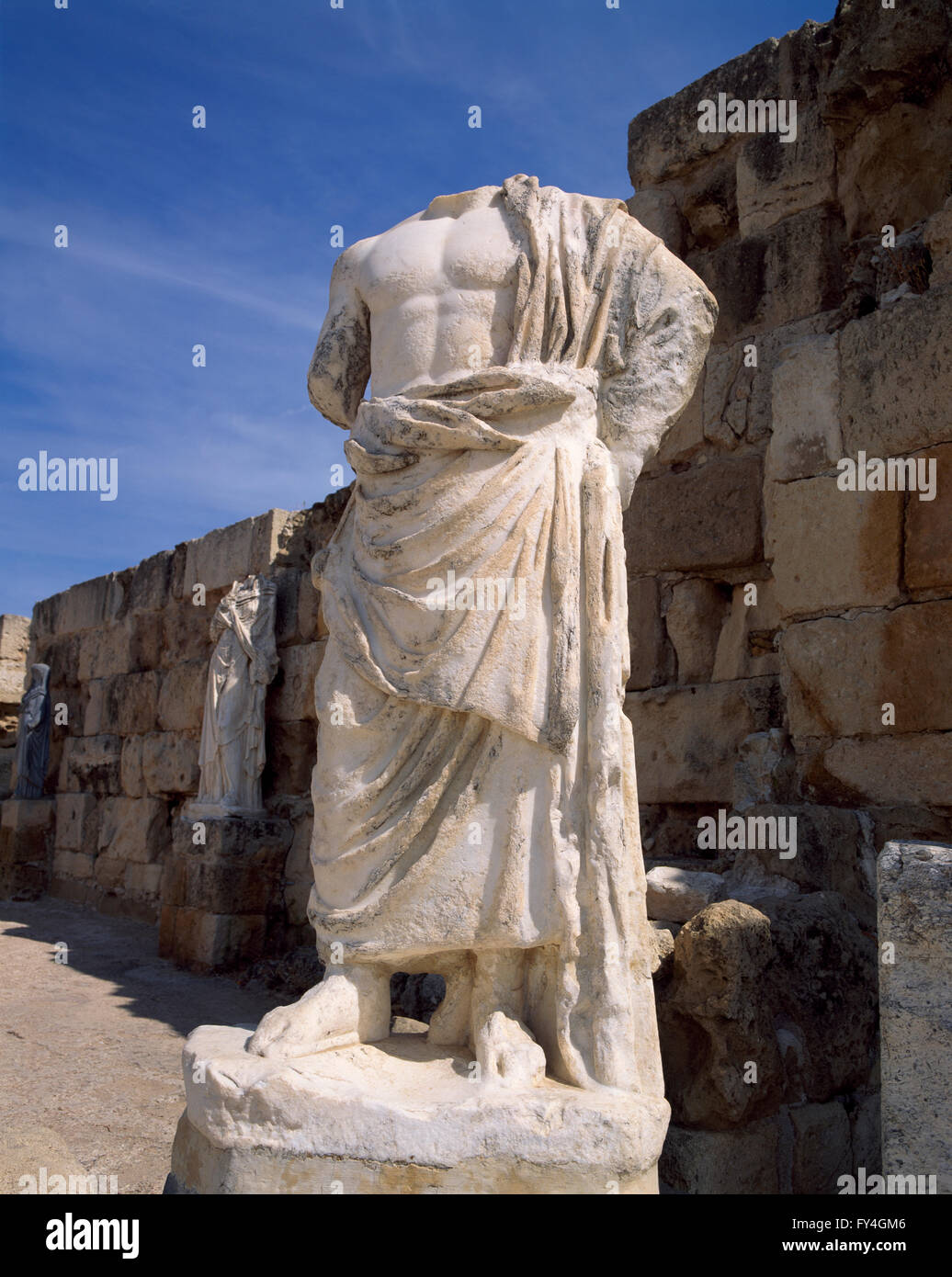 Statue in Salamis, North CYPRUS, Europe - Stock Image