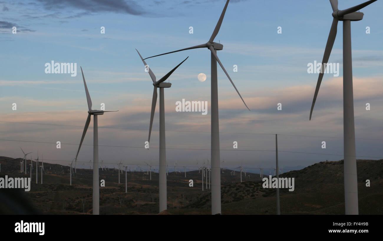 Wind mill turbines farm, California and moon - Stock Image