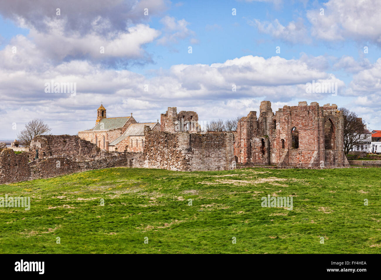 Lindisfarne Priory and St Mary's Church, Holy Island, Northumberland, England, UK - Stock Image