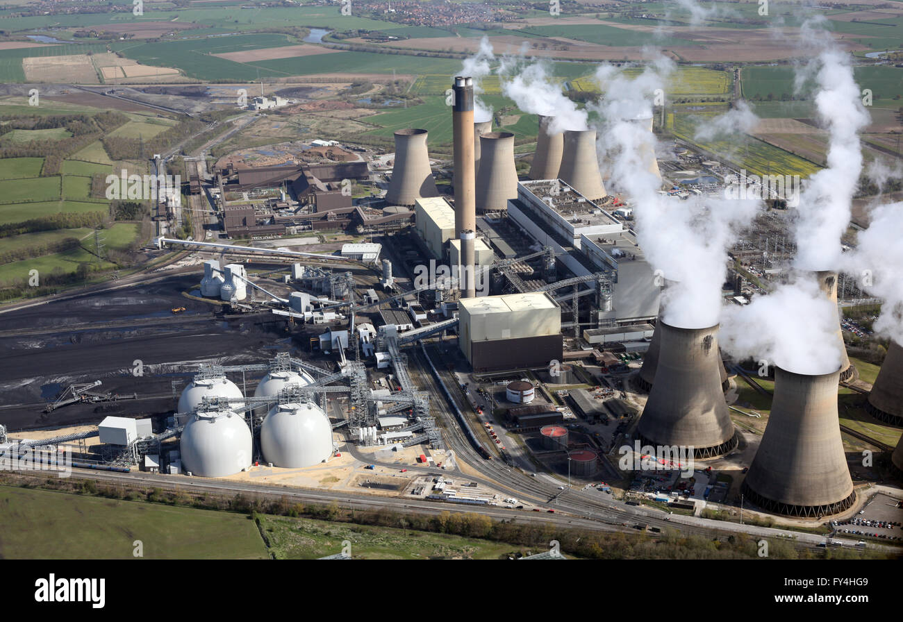 aerial view of Drax Power Station including the new Biomass power plant, Yorkshire, UK - Stock Image