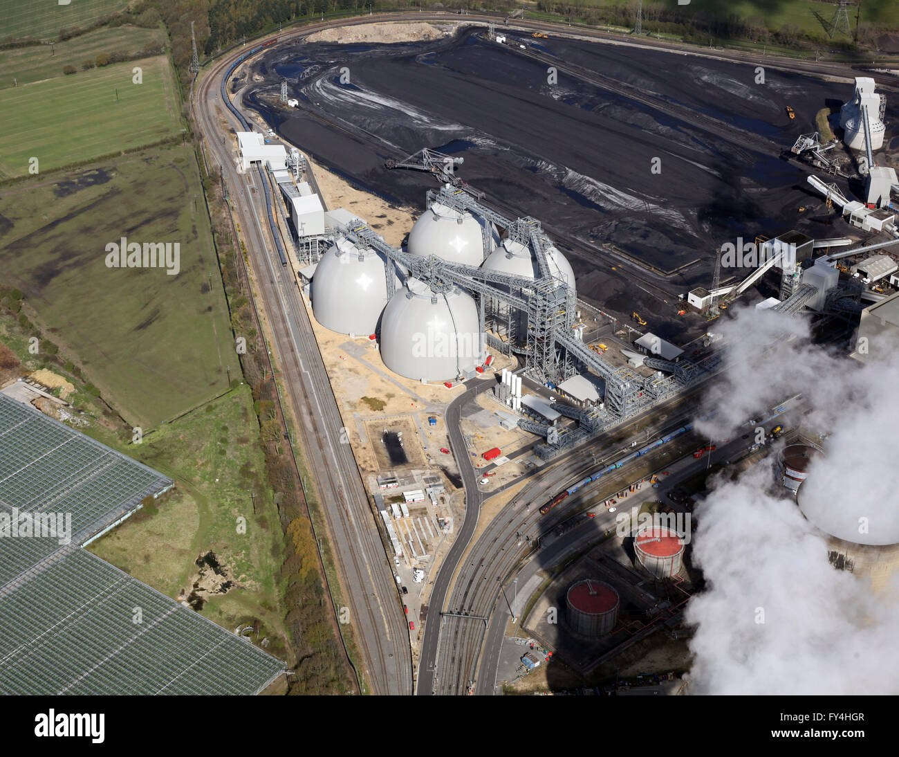 aerial view of the biomass power plant at Drax Power Station, Yorkshire, UK - Stock Image