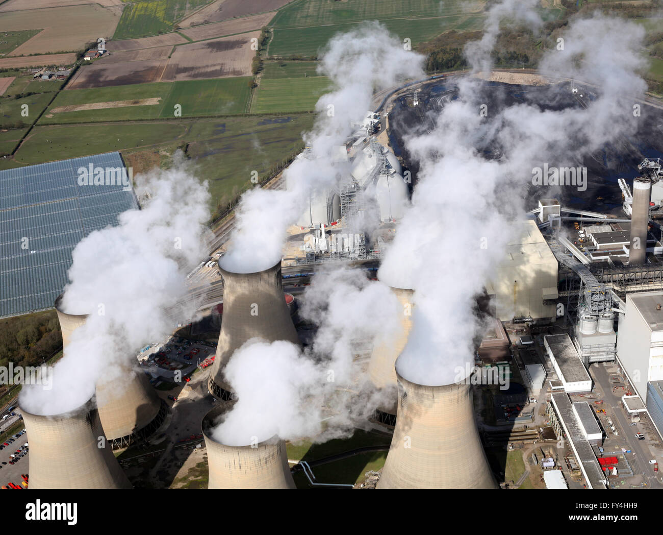 aerial view of steam from the cooling towers at Drax Power Station in Yorkshire, UK - Stock Image