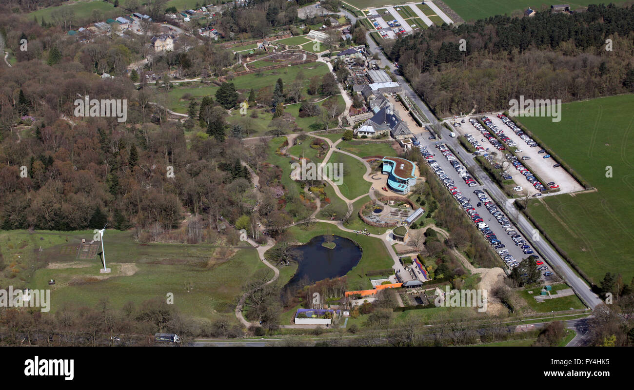 aerial view of RHS Harlow Carr gardens at Harrogate, Yorkshire, UK - Stock Image