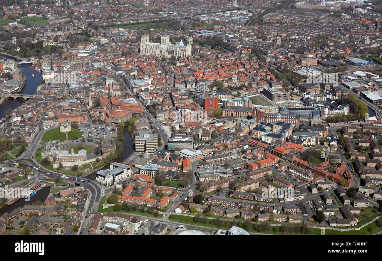 aerial view of York city centre, Yorkshire UK - Stock Image
