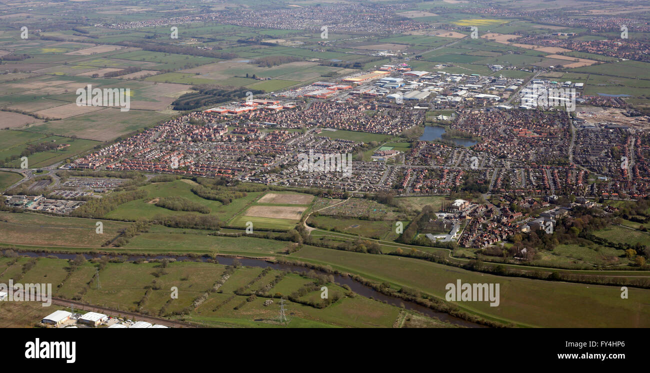 aerial view of River Ouse, Rawcliffe, Clifton Moor, north of York, UK - Stock Image