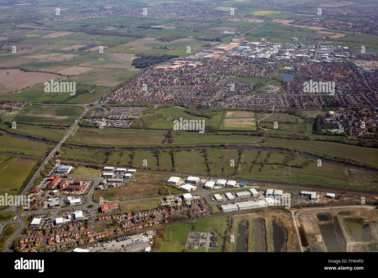 aerial view of York Business Park, River Ouse, Rawcliffe & Clifton Moor, all north of York, UK - Stock Image
