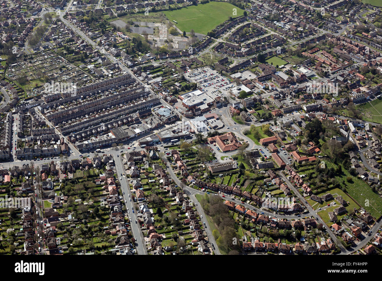 aerial view of the York suburb of Acomb, Yorkshire, UK - Stock Image