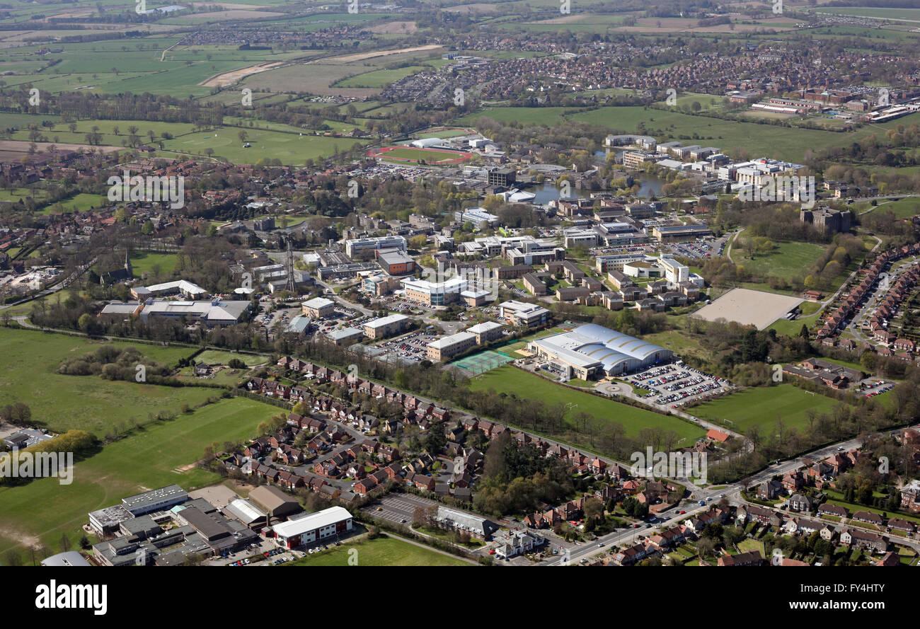 aerial view of York University, York, UK - Stock Image