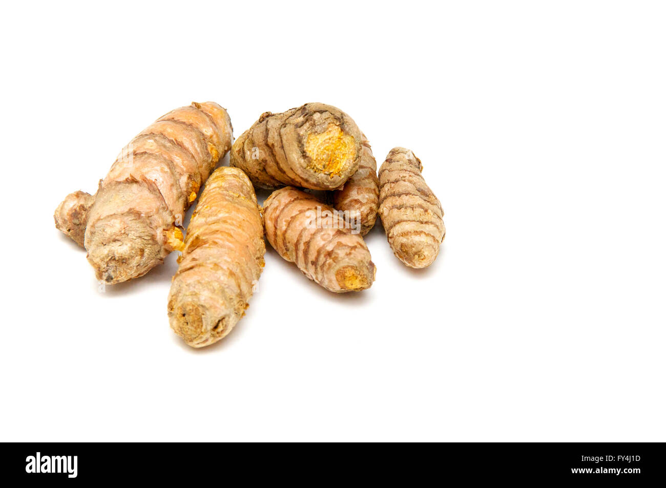 A bunch of  fresh Turmeric rhizomes at eye level over white, not isolated. - Stock Image