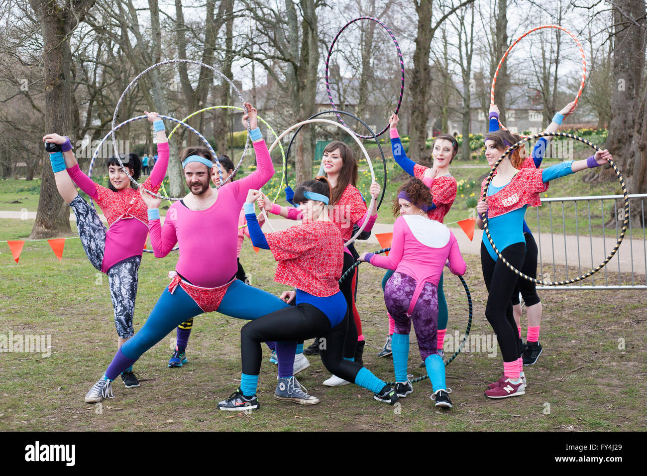 Sparkles Hoop Troupe perform at a Sport Relief event in Bute Park, Cardiff. With Sainsburys as their sponsers, they - Stock Image