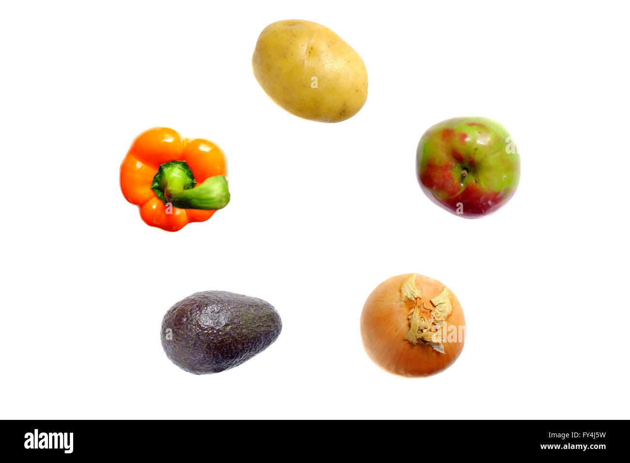 The British recommended dietary allowance of 5 fruit and vegetables photographed against a white background. - Stock Image