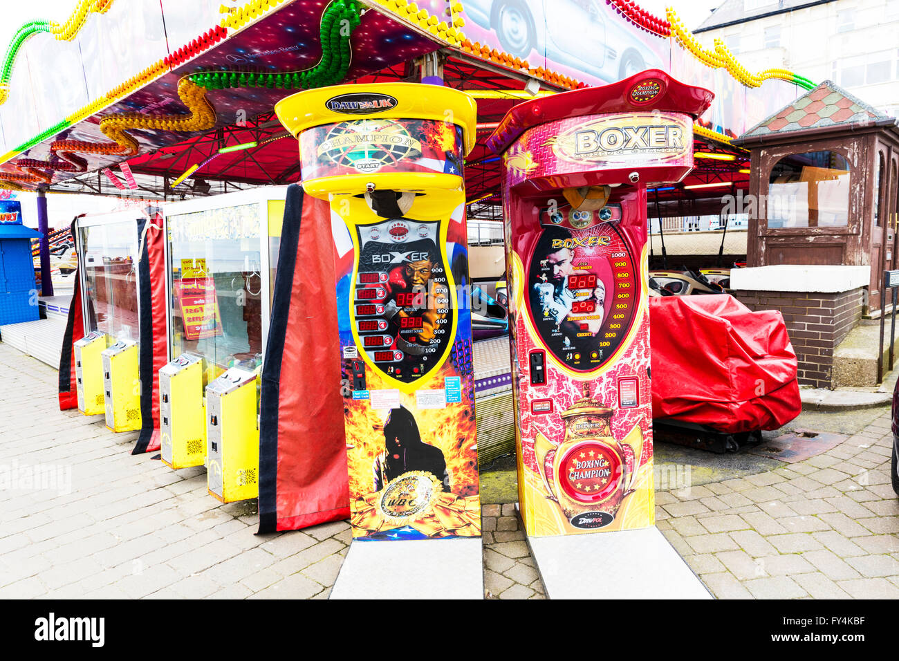 Punch bag fairground punching game machine machines Bridlington Yorkshire UK England coastal town towns - Stock Image