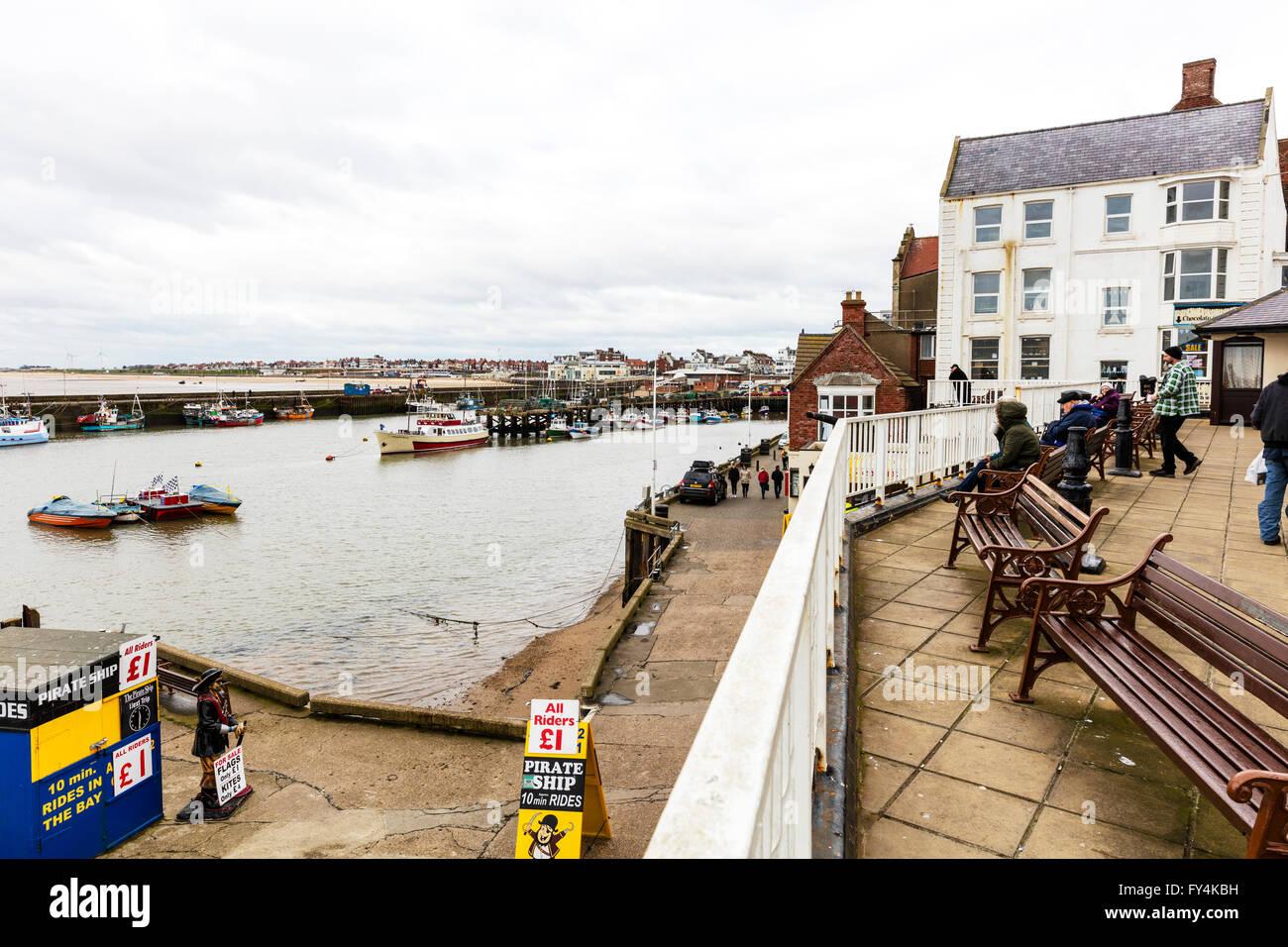 Bridlington Harbour harbor boats moored coast sea Yorkshire UK England coastal town towns - Stock Image
