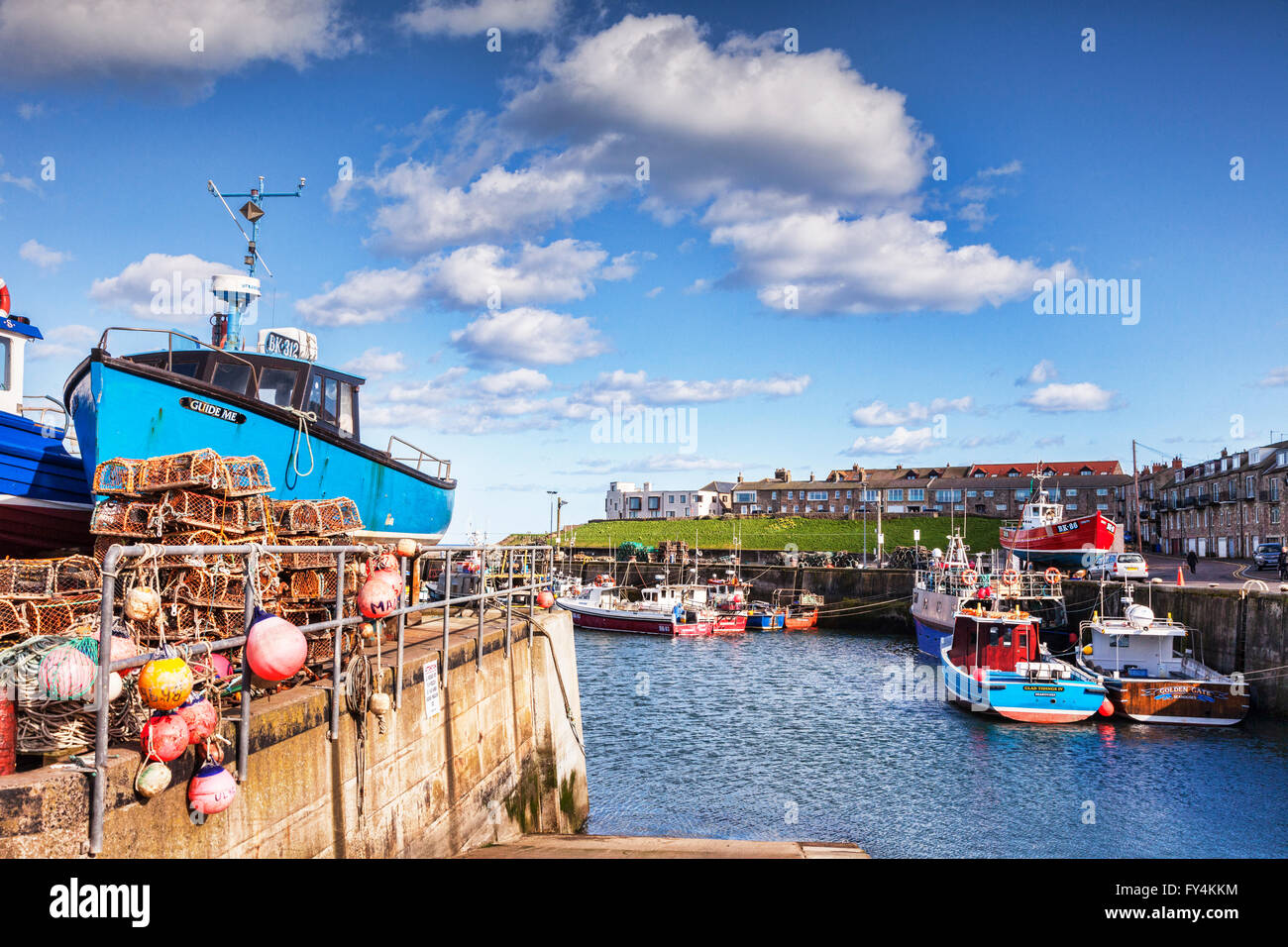The Harbour and town at Seahouses, Northumberland, England, UK - Stock Image