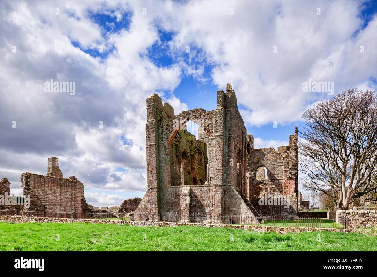 The ruins of Lindisfarne Priory, Holy Island, Northumberland, England, UK - Stock Image