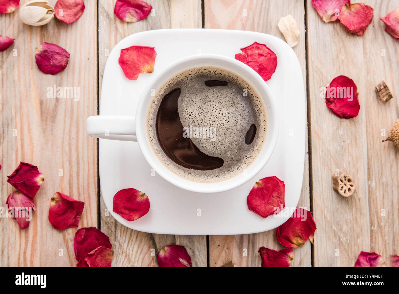 Cup of coffee is a reason for joy - Stock Image