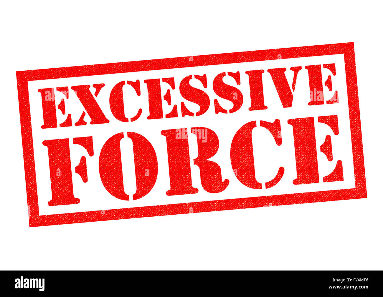 EXCESSIVE FORCE red Rubber Stamp over a white background. - Stock Image