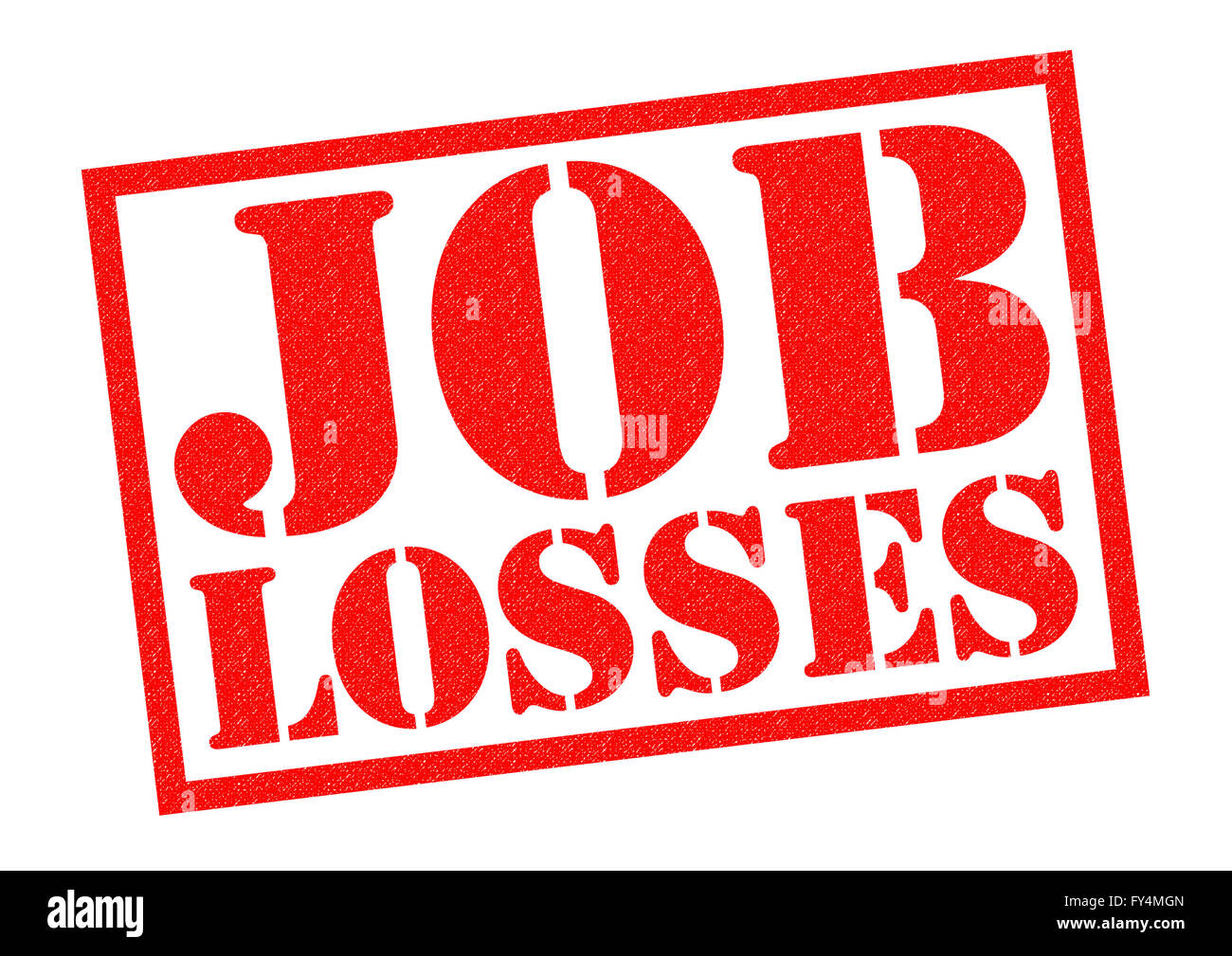 JOB LOSSES red Rubber Stamp over a white background. - Stock Image