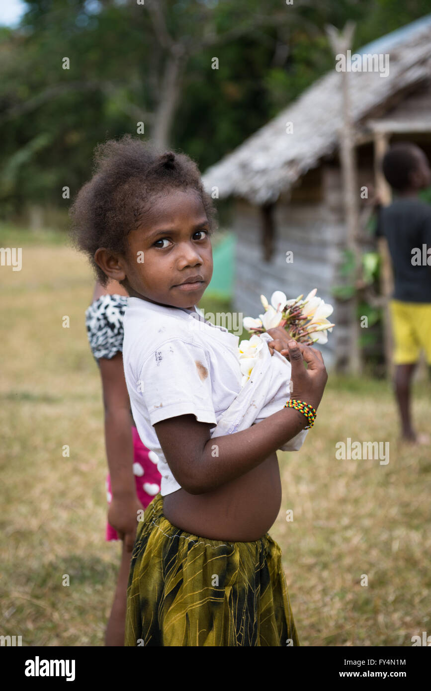 Portrait of young Vanuatu girl. - Stock Image