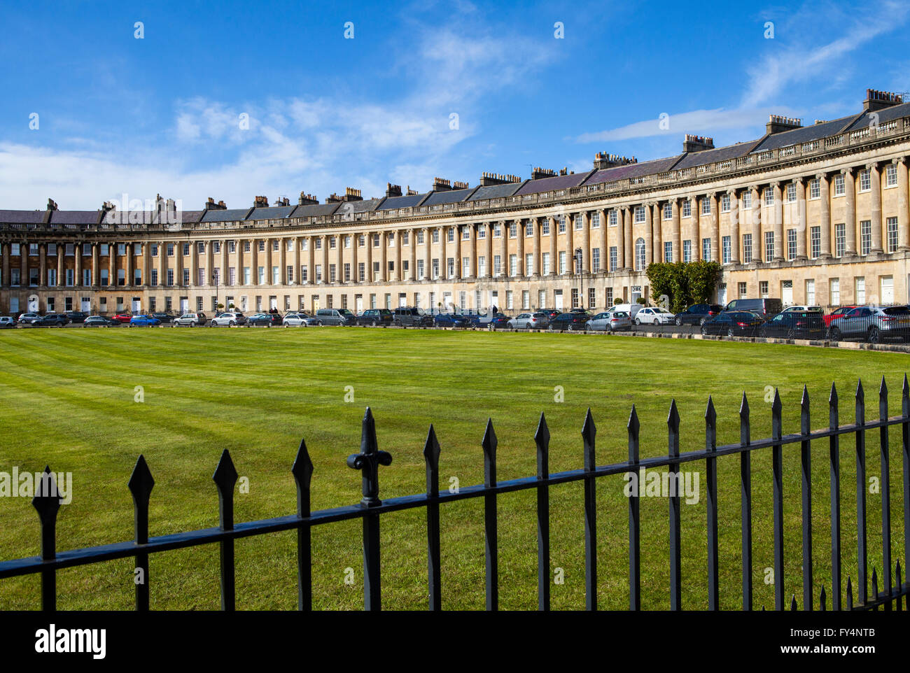 A view of the stunning Royal Crescent in Bath, Somerset. - Stock Image