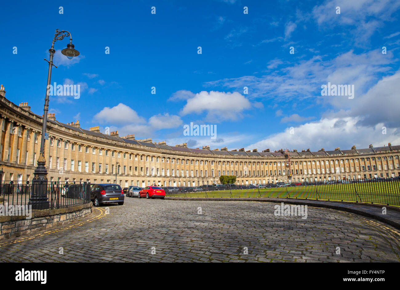 A view of the stunning Georgian architecture of the Royal Crescent in Bath, Somerset. - Stock Image