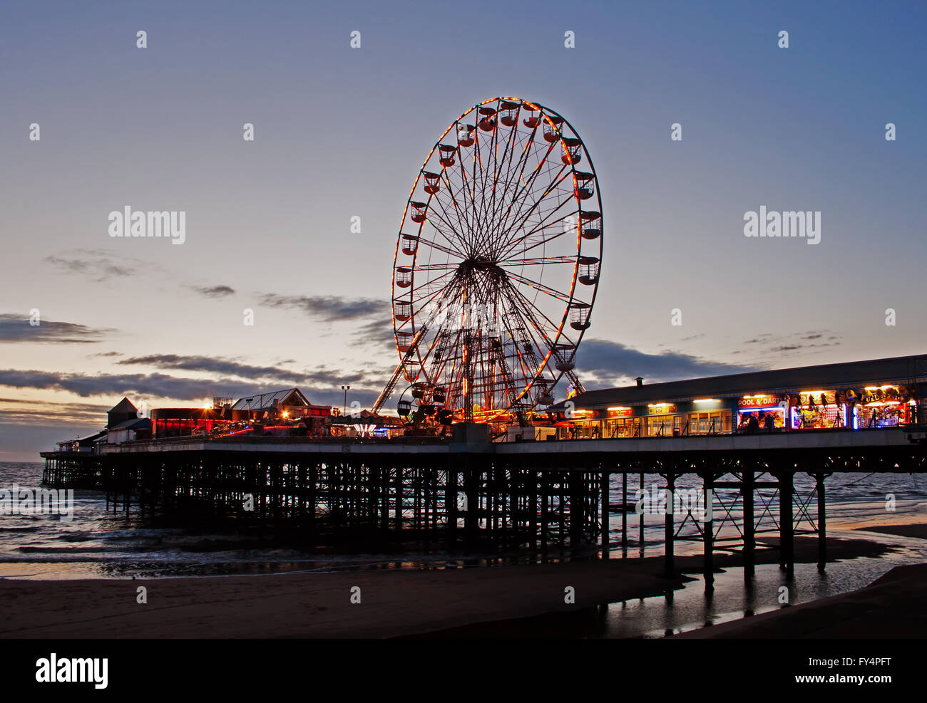 Blackpool's Central Pier at Dusk - Stock Image
