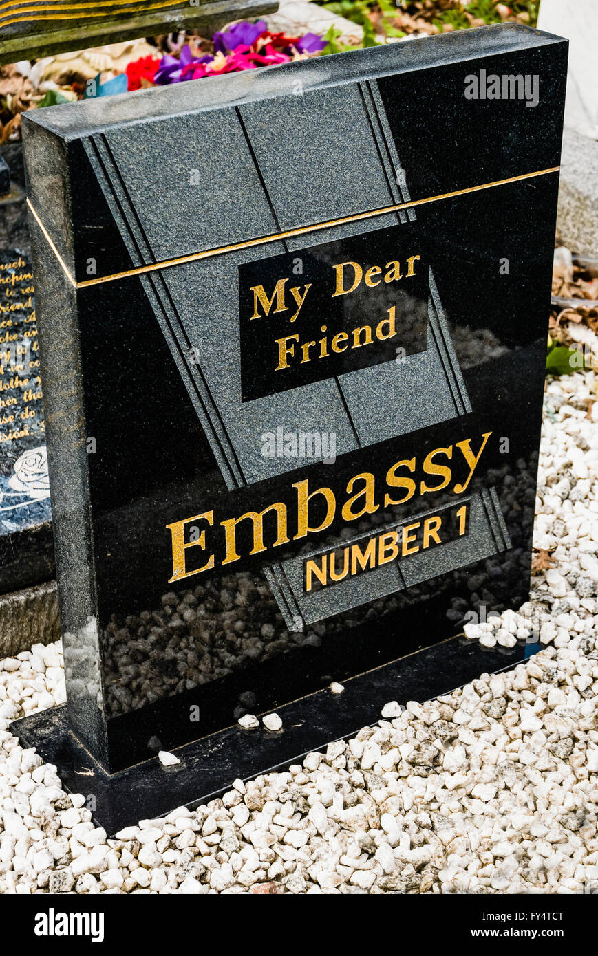 Smoking Kills. A gravestone in the shape of a packet of Embassy Number 1 cigarettes with inscription 'My Dear - Stock Image