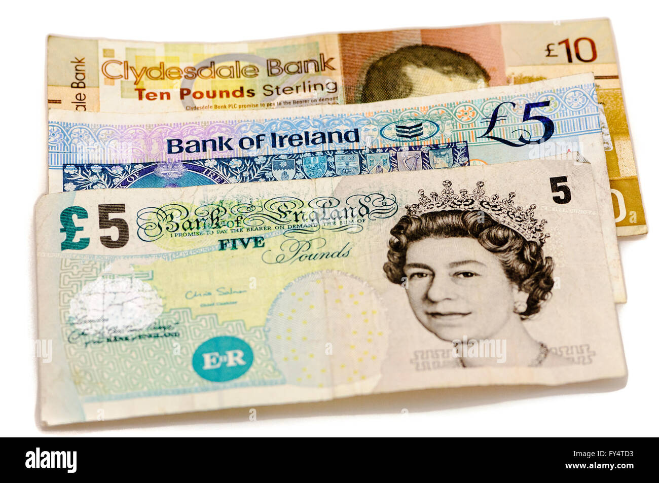 Banknotes from the Clydesdale Bank in Scotland, Bank of Ireland in Northern Ireland and the Bank of England, all - Stock Image