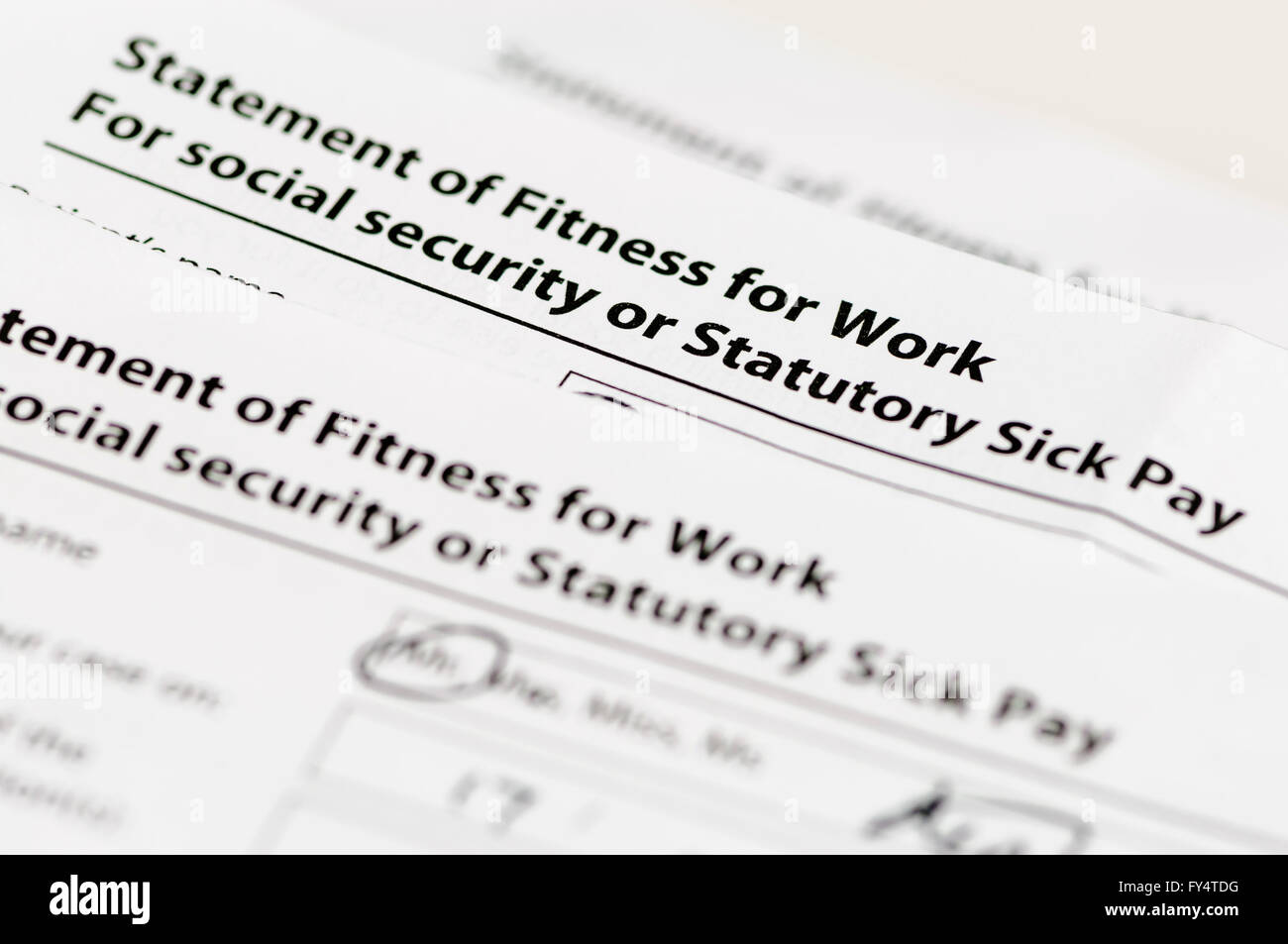 UK NHS Statement of Fitness to Work (or 'Sick Line') indicating the patient is not fit for work. - Stock Image